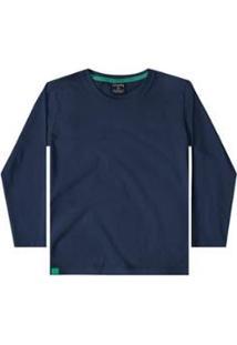 Camiseta Meia Malha Infantil Quimby - Masculino-Azul Escuro