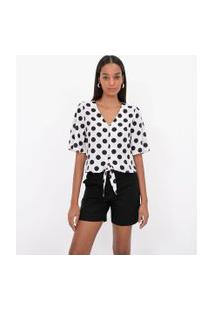 Camisa Manga Curta Poá Com Amarração | Cortelle | Branco | Gg