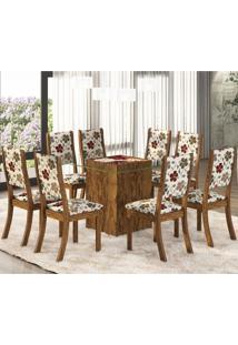 Conjunto Para Sala De Jantar Mesa E 8 Cadeiras Amora Espresso Móveis Avelã/Primavera