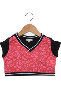 Camiseta Calvin Klein Kids Manga Curta Menina Rosa