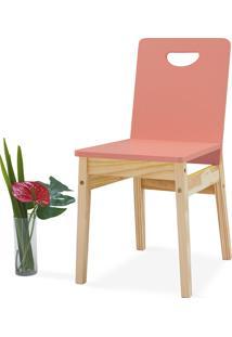 Cadeira Para Mesa De Jantar Tucupi 40X51X81Cm - Acabamento Stain Natural E Rosa Coral