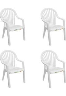 Conjunto Com 4 Cadeiras De Jardim Pacific Branco