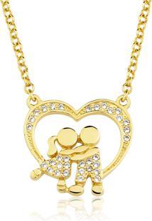 Colar Toque De Joia Casal Coração Zircônias Ouro Amarelo