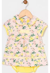 Vestido Body Infantil Floral Com Gola Boneca - Tam 0 A 18 Meses