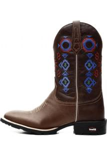 Bota Ellest Texana Country Cano Alto Bico Quadrado Bordado Exclusivo
