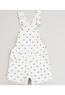 Jardineira De Sarja Infantil Estampada De Conchas Off White