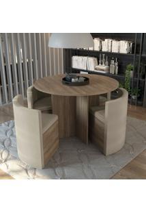 Conjunto Sala De Jantar Mesa Redonda 4 Cadeiras Estar Kappesberg Mink Relevo