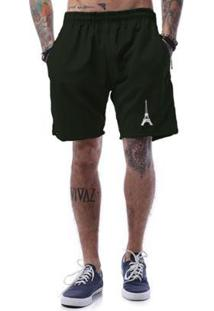 Bermuda Tactel Cellos Eifel Tower Premium Masculina - Masculino-Verde Militar