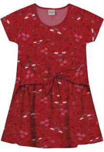 Vestido Infantil Estampado Vermelho