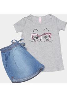 Conjunto De Blusa E Short Jeans Infantil Cativa Feminino - Feminino