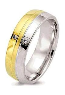 Aliança De Casamento Feminina Ouro 18K E Prata 950 Wm Joias 7Mm Com Zircônia F2600 - Feminino-Dourado