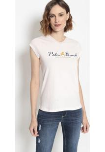 "Camiseta ""Palm Beach""- Rosa Claro & Azul Marinhoclub Polo Collection"