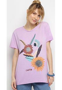 Camiseta Cantão Flores Vintage Feminina - Feminino-Lilás
