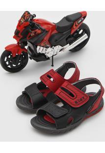 Sandália Kidy Infantil Brinde Moto Vermelho/Preto