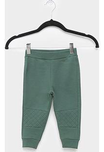 Calça Moletom Infantil Milon Peluciado Liso Básico Masculina - Masculino-Verde