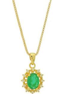 Colar Dona Diva Semi Joias Princesa Oval Feminino - Feminino-Dourado+Verde
