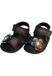 Sandália Brilho Sapatinhos Baby Preto