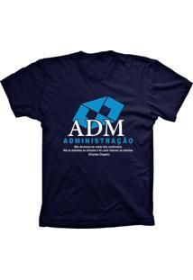 Camiseta Baby Look Lu Geek Administração Azul Marinho
