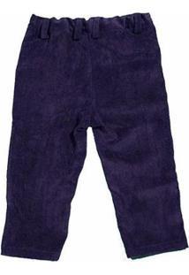 Calça Veludo Infantil Menino Fredie Mon Petit Gum. - Masculino-Azul Escuro