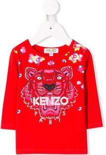 Kenzo Kids Blusa Com Bordado Floral E De Tigre - Vermelho
