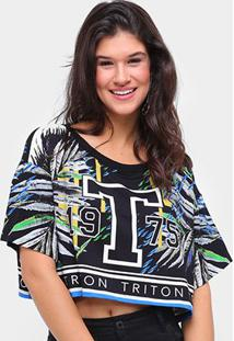 Camiseta Cropped Triton Estampada Feminino - Feminino