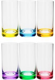 Conjunto Rojemac 6 Copos Altos De Cristal Ecológico Long Drink Set-Bar Favorit Colorido