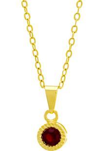 Gargantilha Horus Import Ponto Luz Redondo Vermelho Rubi Banhada Ouro Amarelo 18 K - 1061108