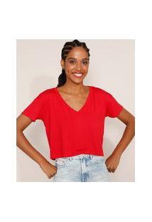 Camiseta Feminina Básica Cropped Manga Curta Decote V Vermelha