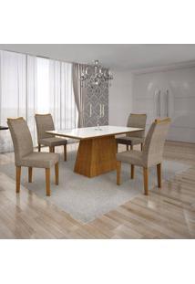 Conjunto Sala De Jantar Mesa Tampo Mdf/Vidro Branco E 4 Cadeiras Pampulha Leifer Imbuia Mel/Suede