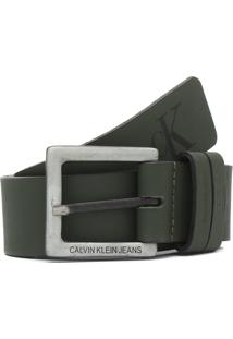 Cinto Couro Calvin Klein Jeans Logo Verde
