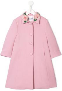 Dolce & Gabbana Kids Casaco Rosa Com Abotoamento Simples E Detalhe De Rosa