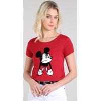 5dc3a3bc6 Blusa Feminina Mickey Manga Curta Decote Redondo Vermelho