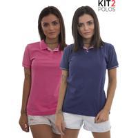 8fbe45e800 Kit 2 Polos Femininas Lagoon Tigs - Roxo E Rosa Pink-G