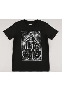 Camiseta Infantil Darth Vader Star Wars Brilha No Escuro Manga Curta Preta