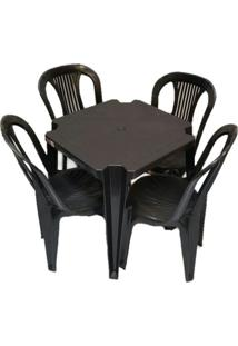 Conjunto Mesa E 4 Cadeiras Bistro Plástico Preto