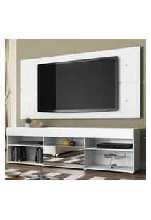 Rack Com Painel Para Tv Até 65 Polegadas Madesa London 1 Porta Com Espelho Branco Branco