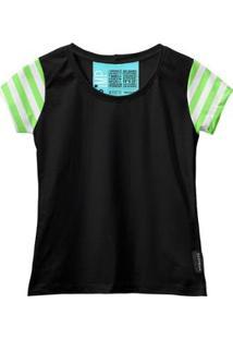 Camiseta Baby Look Feminina Algodão Listrada Estilo Moda - Feminino-Preto+Verde Claro