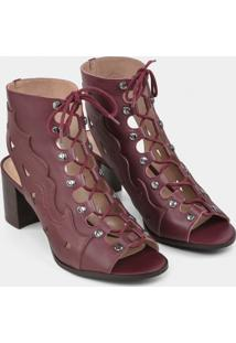 Bota Ankle Boot Western Couro Bordo Red Wine - Lez A Lez