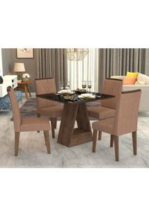 Conjunto De Mesa De Jantar Quadrada Alana Com 4 Cadeiras Nicole Suede Pluma E Preto