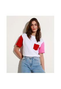T-Shirt De Algodão Com Bolso Manga Curta Colorida Decote Redondo Mindset Off White