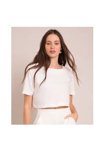 Camiseta Cropped Manga Curta Decote Redondo Off White