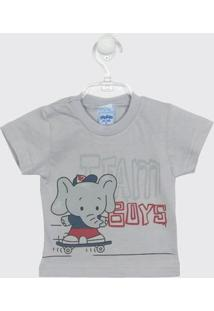 Camiseta Bebê Masculina Manga Curta Cinza Mescla - Masculino-Cinza