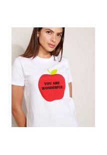 T-Shirt Feminina Mindset Maçã Manga Curta Decote Redondo Branca