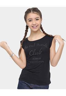 Camiseta Infantil Colcci Fun Aplicação Feminina - Feminino-Preto