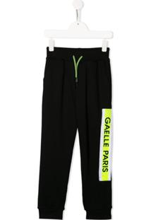 Gaelle Paris Kids Logo Patch Track Pants - Preto