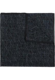 Lanvin Cachecol De Lã Com Logo - Preto