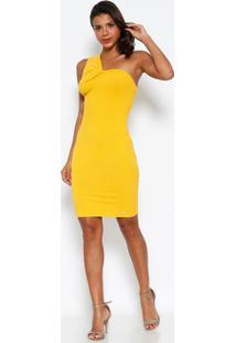 583808ffa Vestido Ombro Único Canelado - Amarelo - Colccicolcci