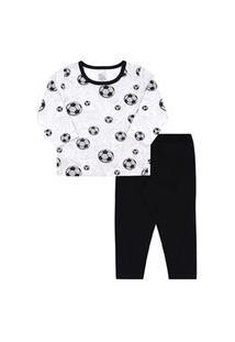 Pijama Infantil Masculino Meia Malha Camiseta Manga Longa Futebol E Calça Preta (4/6/8) - Kappes - Tamanho 8 - Cinza,Preto