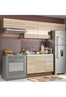 Cozinha Compacta Madesa Marina Com Armário E Balcão (Sem Tampo E Pia) Marrom