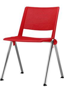 Cadeira Up Assento Vermelho Base Fixa Cromada - 54341 Sun House